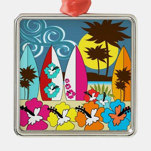 Palmera de las tablas hawaianas de la playa del adorno navideño cuadrado de metal
