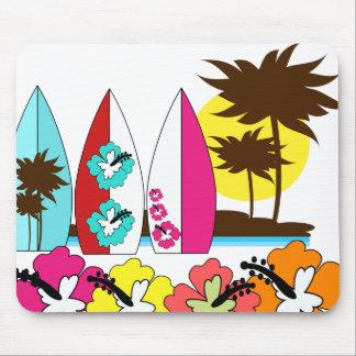 Palmera de las tablas hawaianas de la playa del alfombrilla de ratones