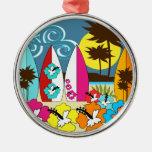 Palmera de las tablas hawaianas de la playa del ornamentos de reyes