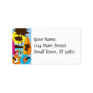 Palmera de las tablas hawaianas de la playa del etiquetas de dirección