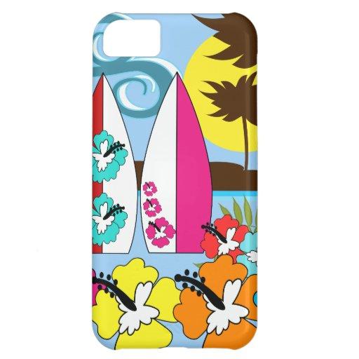 Palmera de las tablas hawaianas de la playa del funda para iPhone 5C