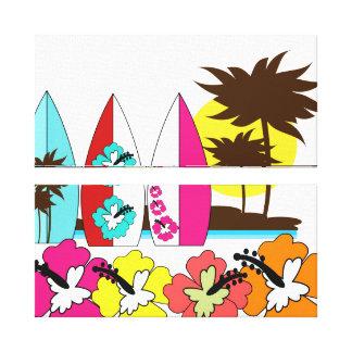 Palmera de las tablas hawaianas de la playa del impresión en lienzo