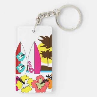 Palmera de las tablas hawaianas de la playa del llavero rectangular acrílico a doble cara