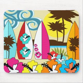 Palmera de las tablas hawaianas de la playa del mouse pad