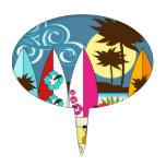 Palmera de las tablas hawaianas de la playa del oc decoración de tarta