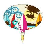 Palmera de las tablas hawaianas de la playa del oc figuras de tarta