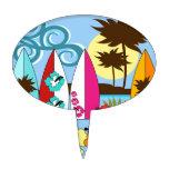 Palmera de las tablas hawaianas de la playa del oc figura para tarta