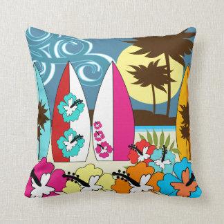 Palmera de las tablas hawaianas de la playa del oc cojines