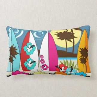 Palmera de las tablas hawaianas de la playa del oc almohadas