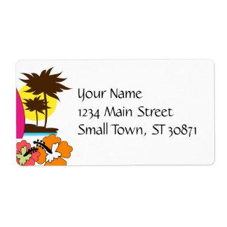 Palmera de las tablas hawaianas de la playa del oc etiqueta de envío