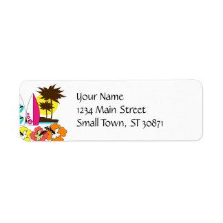 Palmera de las tablas hawaianas de la playa del oc etiqueta de remitente