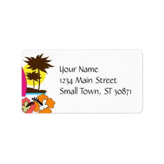 Palmera de las tablas hawaianas de la playa del oc etiquetas de dirección