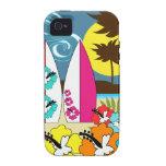 Palmera de las tablas hawaianas de la playa del oc iPhone 4 carcasa