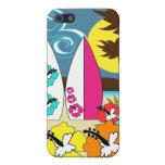 Palmera de las tablas hawaianas de la playa del oc iPhone 5 funda