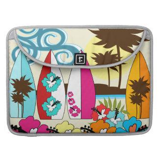 Palmera de las tablas hawaianas de la playa del oc fundas para macbook pro