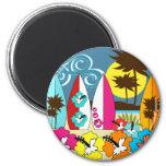 Palmera de las tablas hawaianas de la playa del oc iman para frigorífico