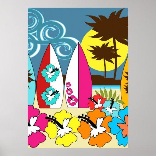 Palmera de las tablas hawaianas de la playa del oc posters