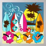Palmera de las tablas hawaianas de la playa del oc poster