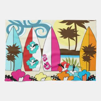 Palmera de las tablas hawaianas de la playa del oc toalla de cocina