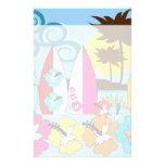 Palmera de las tablas hawaianas de la playa del oc  papeleria de diseño
