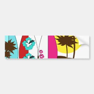 Palmera de las tablas hawaianas de la playa del oc pegatina para auto