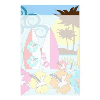 Palmera de las tablas hawaianas de la playa del oc personalized stationery