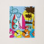 Palmera de las tablas hawaianas de la playa del oc puzzles con fotos