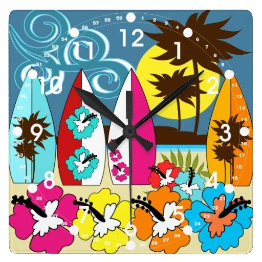 Palmera de las tablas hawaianas de la playa del oc relojes