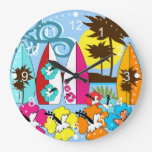 Palmera de las tablas hawaianas de la playa del oc reloj