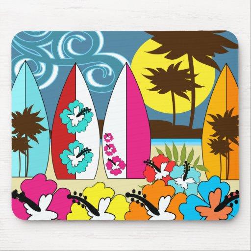 Palmera de las tablas hawaianas de la playa del oc alfombrilla de ratones