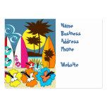 Palmera de las tablas hawaianas de la playa del oc plantilla de tarjeta de negocio