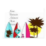 Palmera de las tablas hawaianas de la playa del oc tarjeta de visita
