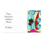 Palmera de las tablas hawaianas de la playa del oc tarjetas de visita