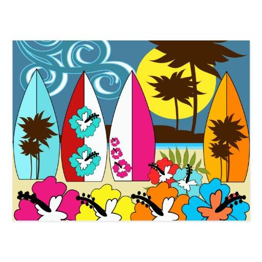 Palmera de las tablas hawaianas de la playa del oc postales