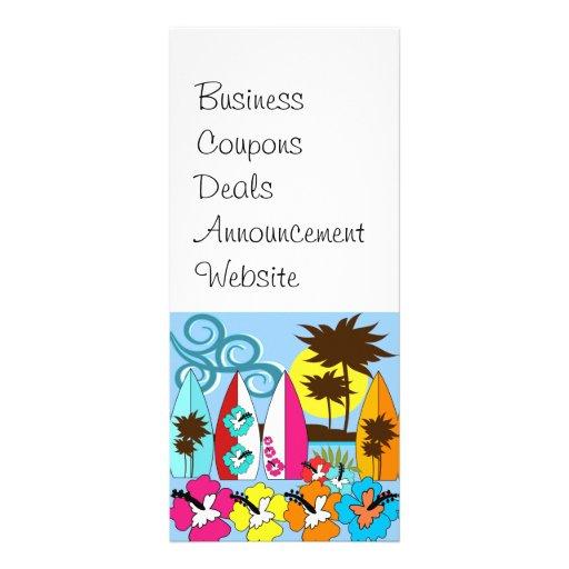 Palmera de las tablas hawaianas de la playa del oc tarjeta publicitaria personalizada
