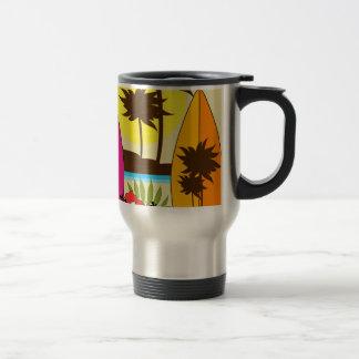 Palmera de las tablas hawaianas de la playa del oc tazas de café