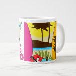 Palmera de las tablas hawaianas de la playa del oc taza extra grande
