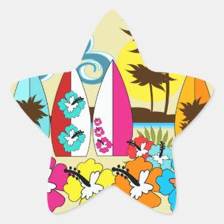 Palmera de las tablas hawaianas de la playa del pegatina en forma de estrella