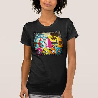 Palmera de las tablas hawaianas de la playa del camisetas