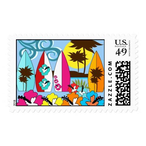 Palmera de las tablas hawaianas de la playa del sello