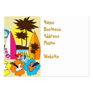 Palmera de las tablas hawaianas de la playa del tarjetas de visita grandes