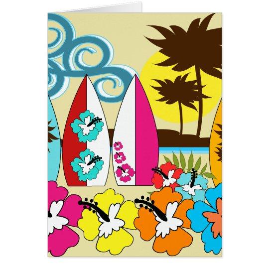 Palmera de las tablas hawaianas de la playa del tarjeta de felicitación