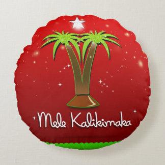 Palmera de Mele Kalikimaka para Navidad Cojín Redondo