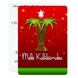 "Palmera de Mele Kalikimaka para Navidad Invitación 5"" X 7"""
