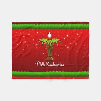 Palmera de Mele Kalikimaka para Navidad Manta De Forro Polar