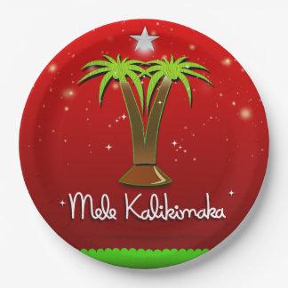 Palmera de Mele Kalikimaka para Navidad Plato De Papel De 9 Pulgadas
