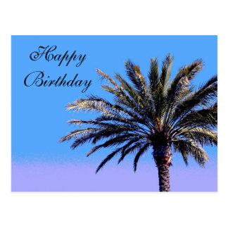Palmera del feliz cumpleaños tarjetas postales