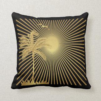 Palmera del oro de Metalllic Sun y almohada del p