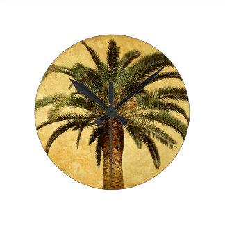 Palmera del vintage - plantilla modificada para reloj redondo mediano