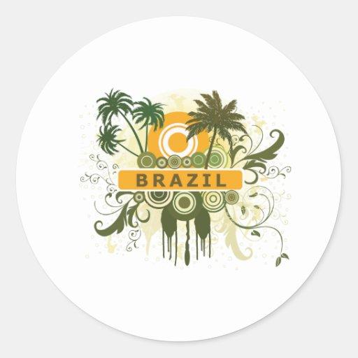 Palmera el Brasil Pegatinas Redondas